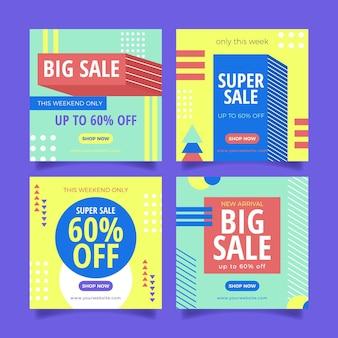 Pack de publications instagram de vente au design plat