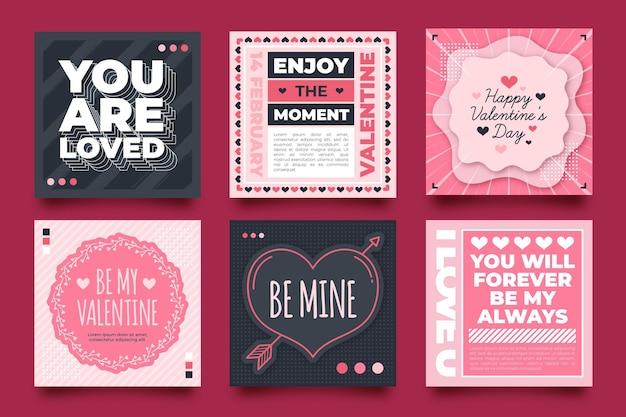 Pack de publications sur les réseaux sociaux pour la saint-valentin