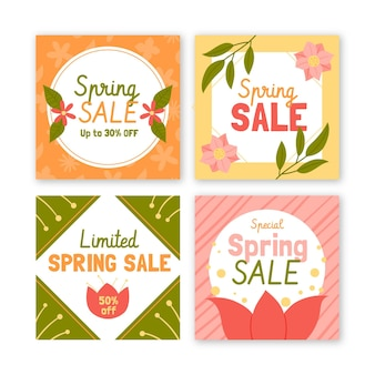 Pack de publications sur les réseaux sociaux de vente de printemps dessinés à la main