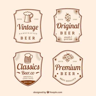 Pack de quatre autocollants de bière au style vintage