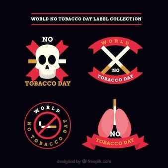 Pack de quatre autocollants en conception plate d'anti-tabagisme