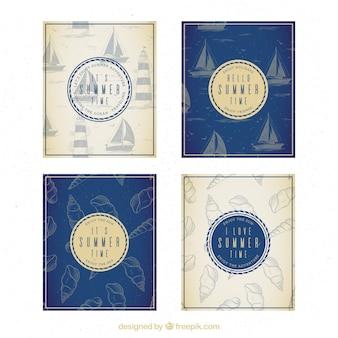 Pack de quatre cartes d'été anciennes