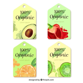 Pack de quatre étiquettes d'aquarelle avec des aliments biologiques