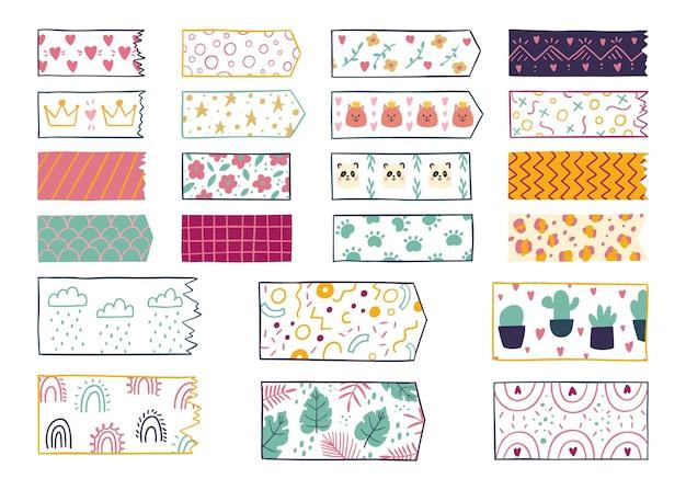 Pack de ruban washi dessiné à la main