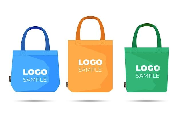 Pack de sac en tissu design plat