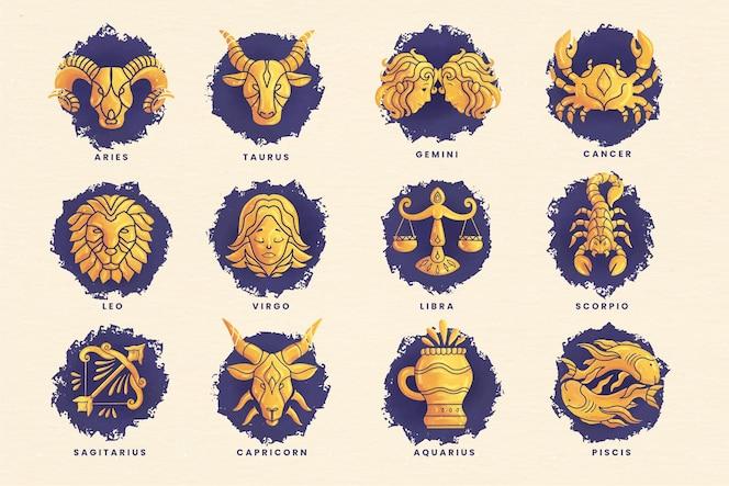 Pack de signe du zodiaque aquarelle peint à la main