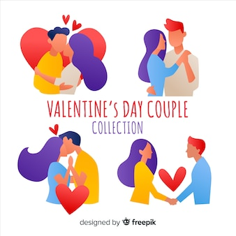 Pack silhouette de la saint-valentin en couple