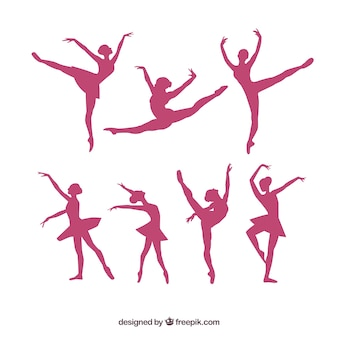 Pack silhouettes de ballerine de vecteur