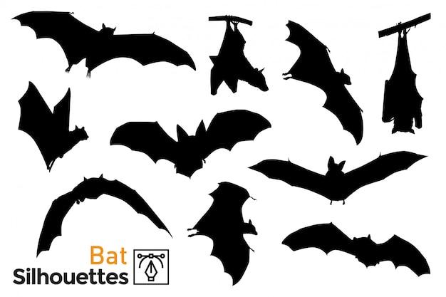 Pack de silhouettes de chauves-souris.