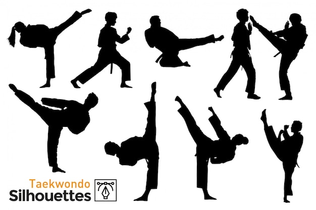 Pack de silhouettes de taekwondo.