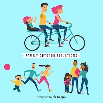 Pack de situations familiales en plein air dessinées à la main