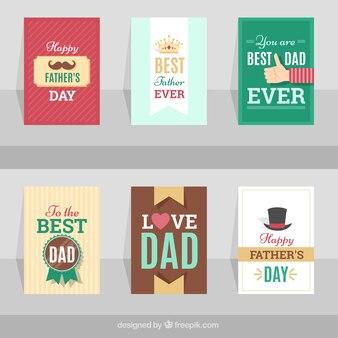 Pack de six cartes décoratives plates pour le jour du père
