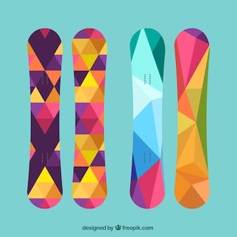 Pack snowboard dans le style polygonale