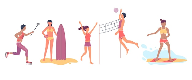 Pack sport d'été design plat
