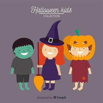 Pack de style plat de personnages halloween pour enfants