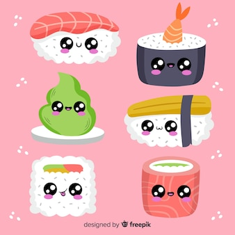 Pack de sushis kawaii dessinés à la main