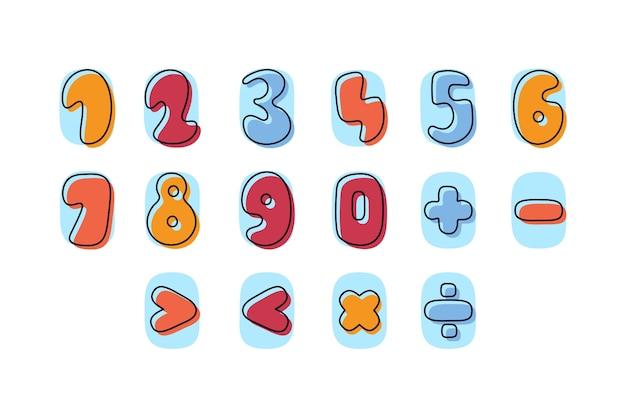 Pack de symboles mathématiques dessinés à la main