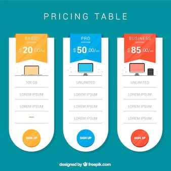 Pack de table de tarification
