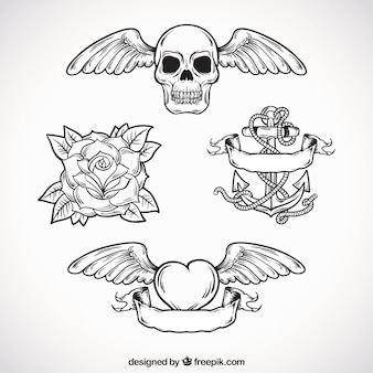 Pack de tatouages ​​dessinés à la main