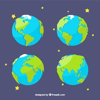 Pack de la terre avec des étoiles