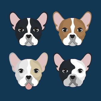 Pack de têtes de bulldog