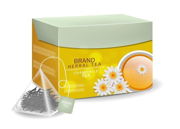 Pack de thé à la camomille dans des sacs triangulaires infusion d'herbes biologiques vecteur boisson réaliste