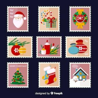 Pack de timbres de noël colorés et plats