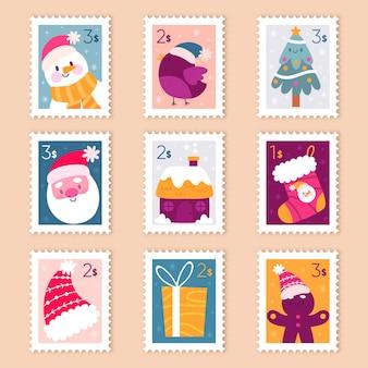 Pack de timbres de noël dessinés à la main