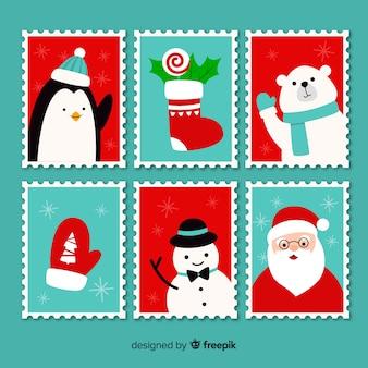 Pack de timbres de noël de personnages plats