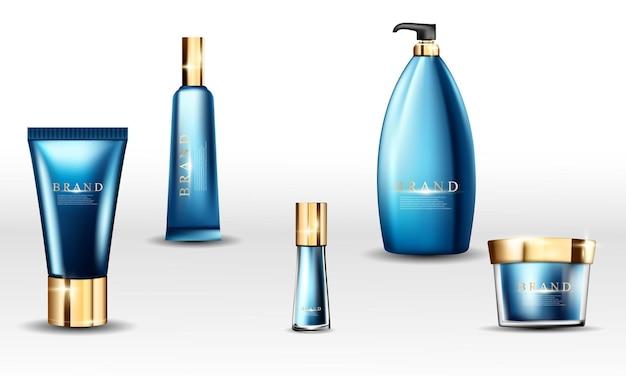 Pack de tubes cosmétiques de produits de marque de crème affiche de fond d'or blanc abstrait beauté avec dynamique.