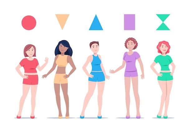 Pack de types de formes de corps féminins dessinés à la main