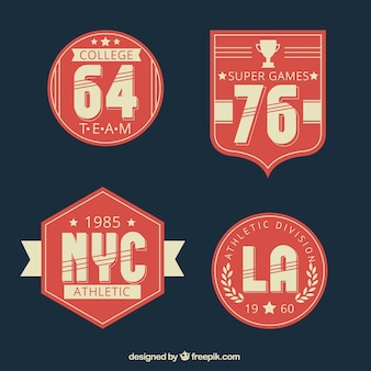Pack universitaires badges de sport dans le style vintage
