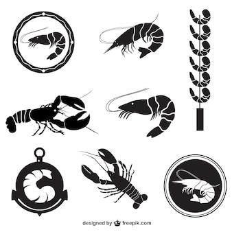 Pack vecteur de crevettes