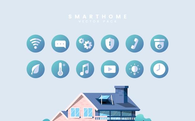 Pack de vecteur maison intelligente avec des icônes