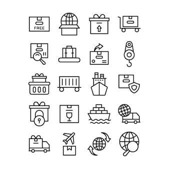 Pack de vecteurs de ligne de fret international