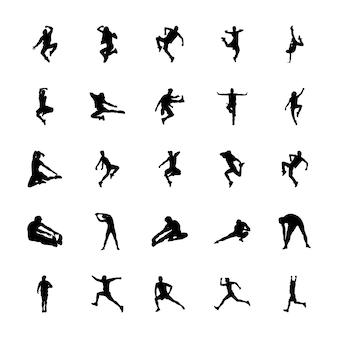 Pack de vecteurs de silhouettes d'aérobic