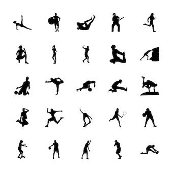 Pack de vecteurs de silhouettes de sport