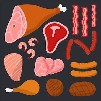 Pack de viande sur fond noir