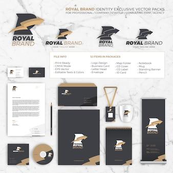 Packs de modèle exclusif de vectoriel d'identité de marque royale pour le professionnel