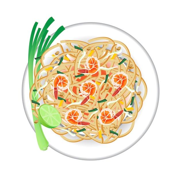 Pad thai sur le plat. vue de dessus.