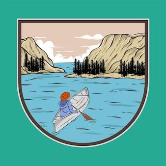 Pagayer à travers l'illustration vectorielle de l'île