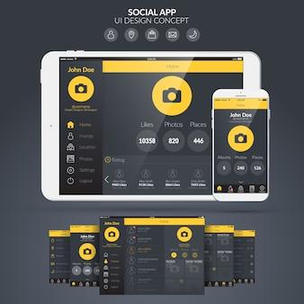 Page d'accueil application sociale ui design concept plat