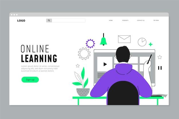 Page d'accueil d'apprentissage en ligne linéaire plat