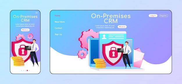 Page D'accueil Crm Adaptative Sur Site Vecteur Premium
