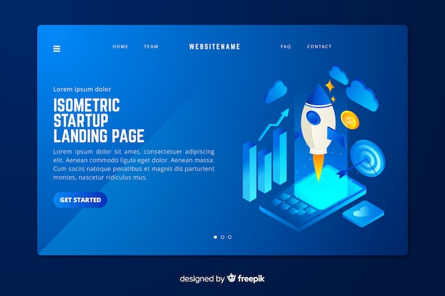 Page d'accueil de démarrage en style isométrique