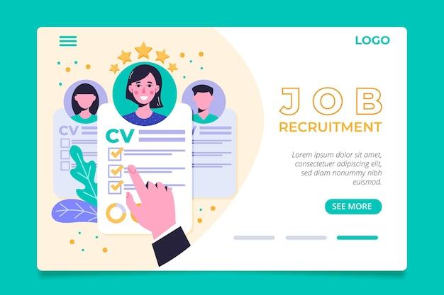 Page d'accueil du concept de recrutement avec illustrations