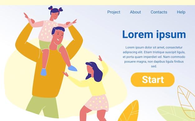 Page d'accueil du père de famille heureux et de petites filles