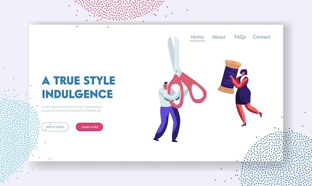 Page d'accueil du site web de l'atelier de couture, du tailleur ou de la couturière