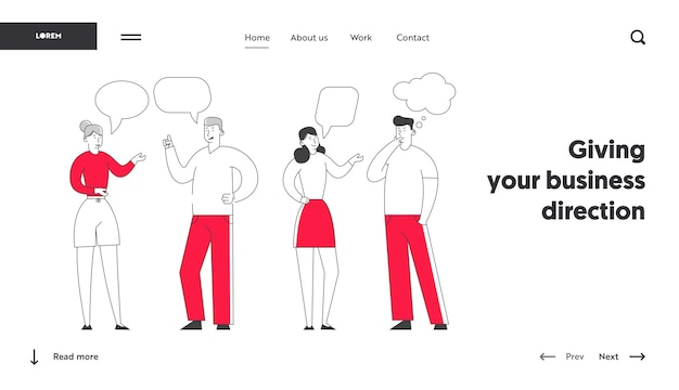 Page d'accueil du site web des jeunes qui discutent et prennent des décisions.