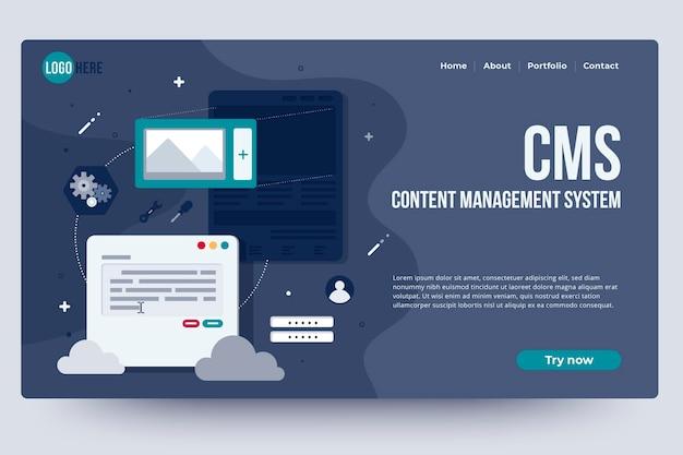 Page d'accueil du système de gestion de contenu